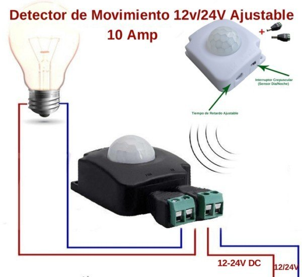 Detector de Movimiento 12v/24v 10Amp Ajustable Mini